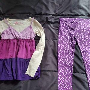 girl 6 polka dot leggings and top